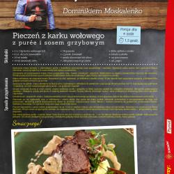 Pieczeń z karku wołowego z purée i sosem grzybowym