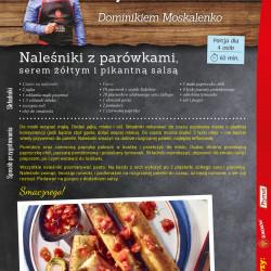 Naleśniki z parówkami, serem żółtym i pikantną salsą