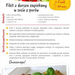 Filet z dorsza zapiekany w sosie z porów