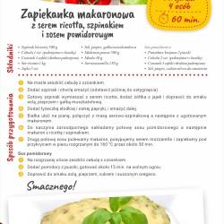 Zapiekanka makaronowa z serem ricotta, szpinakiem i sosem pomidorowym