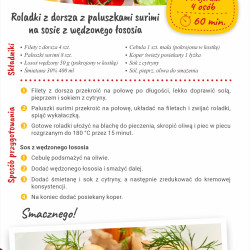 Roladki z dorsza z paluszkami surimi na sosie z wędzonego łososia