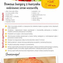 Domowe burgery z kurczaka nadziewane serem mozzarellą