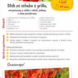Stek ze schabu z grilla, marynowany w mleku i cebuli, podany z salsą pomidorową
