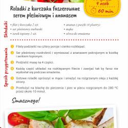 Roladki z kurczaka faszerowane serem pleśniowym i ananasem